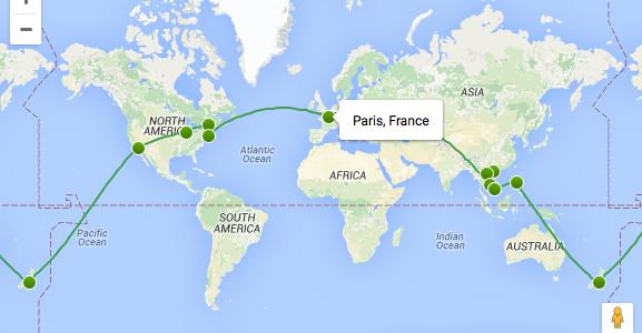 Découvrez l'itinéraire tour du monde 2016